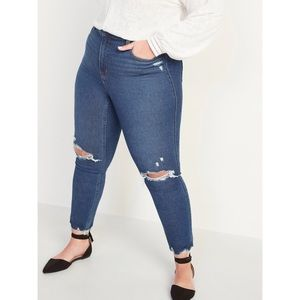 Old Navy High Rise Cropped Ripped Rockstar Jeans